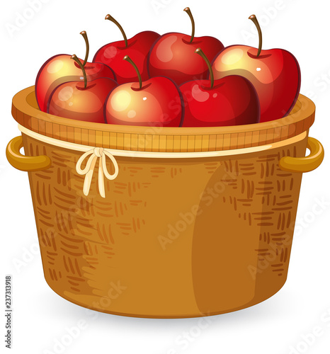 Staande foto Kids Red apple in basket