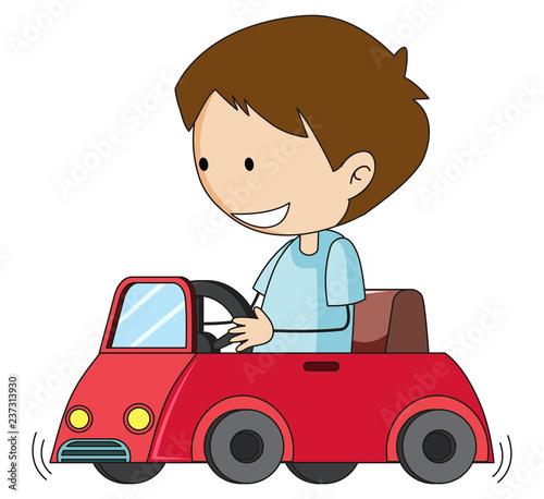 Staande foto Kids Doodle boy drive toy car