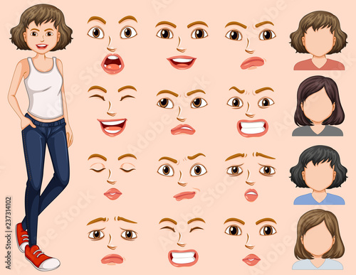 Young woman with different facial expression