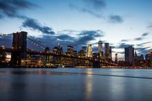 Manhattan Skyline At Sunset. N...