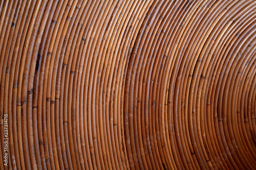 Vintage curved wicker table texture