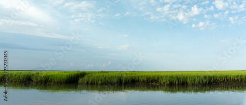 Printed kitchen splashbacks Light blue marsh grass and coastal barrier island inlet at high tide