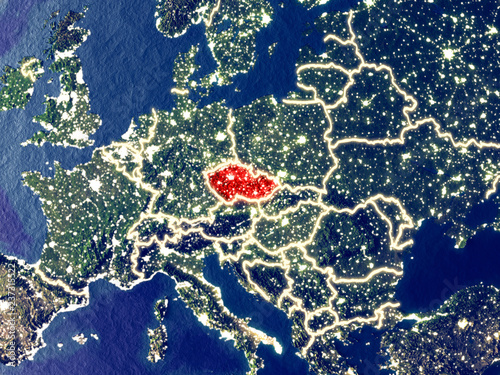 Photo  Czech republic from space on Earth at night