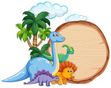 Fototapeta Dinusie - Many dinosaur on wooden banner