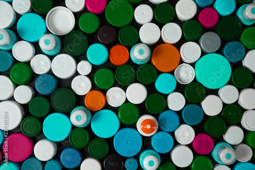 Collection of various colorful plastic screw caps #237317379