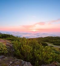 Idyllic Sunset Scenery Seen From Mountain Plateau
