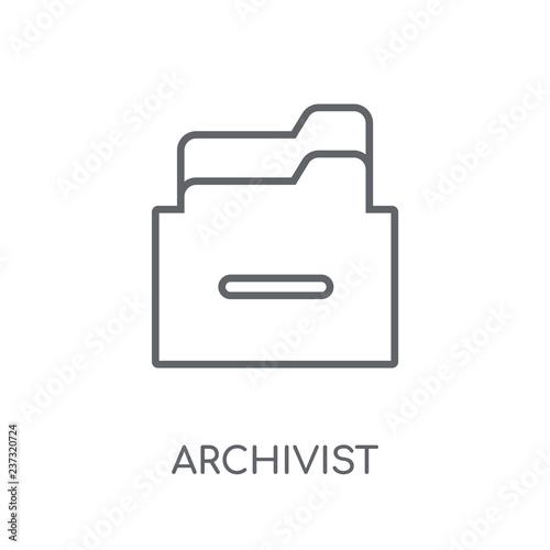 Archivist linear icon Canvas Print