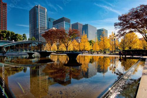 Plakat Marunouchi, centralna dzielnica Tokio, jesienią