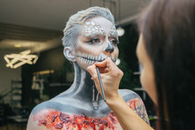 Girl Painted As An Skeleton.