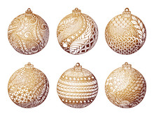 Set Of Gold Christmas Ball, Ha...