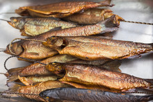Close Up On Smoked Trout Fish