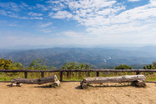 "Timber Log For Relax At Mountain View Point In ""Doi Samer Dao"", Sinan Natural Park, Thailand."