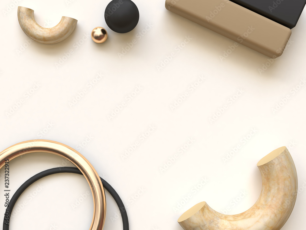 cream black gold flat lay 3d rendering abstract background