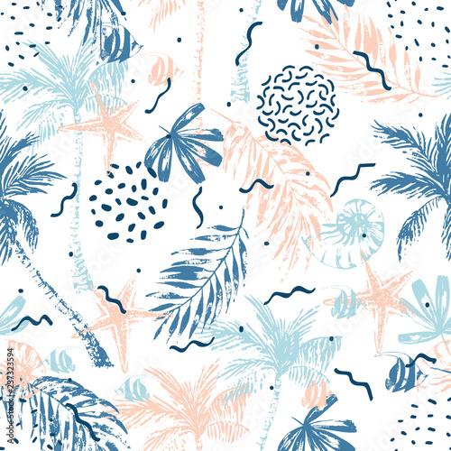 Foto auf AluDibond Grafik Druck Hand drawn abstract summer beach background