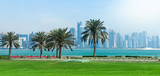Panoramic view on financial center of Doha, Qatar from West Bay