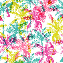 Abstract Colorful Palm Trees Seamless Pattern.