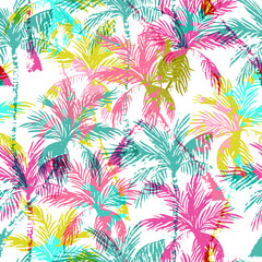 Naklejka Do sypialni Abstract colorful palm trees seamless pattern.