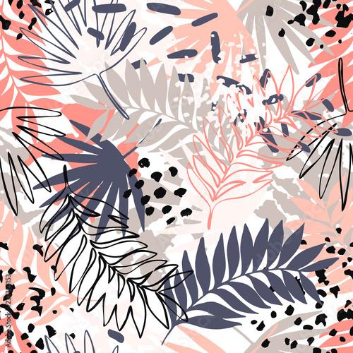 Fototapeta Abstract exotic leaves seamless pattern. obraz na płótnie