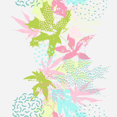 Naklejka Do sypialni Abstract falling leaves seamless pattern in fresh bright summer colors.