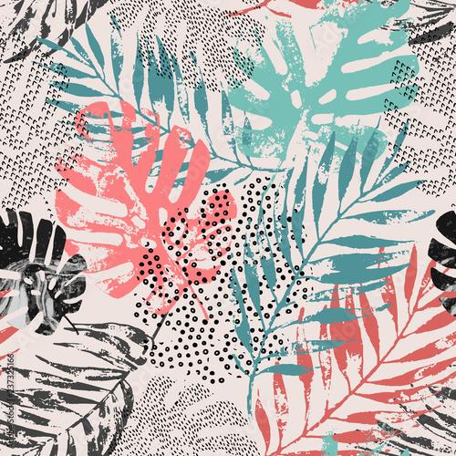 Photo sur Toile Empreintes Graphiques Art illustration: rough grunge tropical leaves filled with marble texture, doodle elements background.