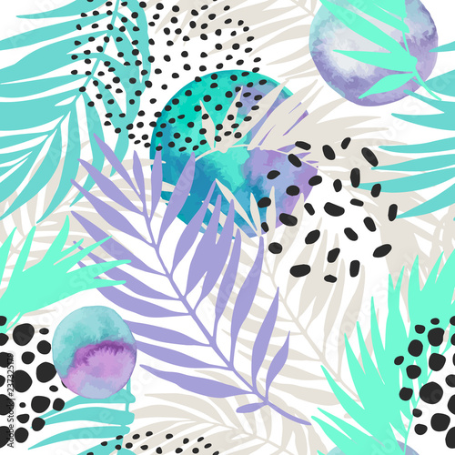 Canvas Prints Graphic Prints Floral and geometric background with palm leaves, doodle, watercolor texture, stains, 80s 90s shapes