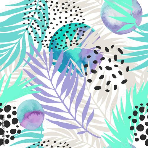 Fond de hotte en verre imprimé Empreintes Graphiques Floral and geometric background with palm leaves, doodle, watercolor texture, stains, 80s 90s shapes