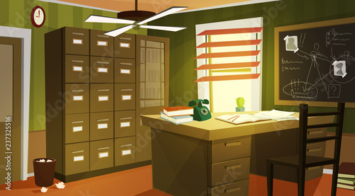 Tablou Canvas Private detective office interior cartoon vector with retro telephone and papers on work desk, case for dossiers, chalkboard with schemes and suspects photos illustration
