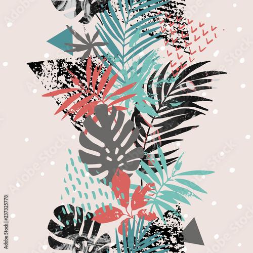 Photo sur Toile Empreintes Graphiques Art illustration with tropical leaves, grunge, marbling textures, doodles, geometric, minimal elements.