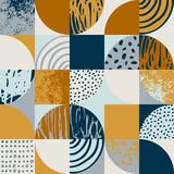 Modern seamless geometric pattern: semicircles, circles, squares, grunge textures, doodles - 237325969