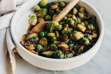Brussels Sprouts With Bacon And Maple Bourbon Glaze