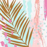 Ilustracja wektorowa nowoczesne tropikalne liście, grunge tekstur, gryzmoły, minimalne elementy. - 237326111