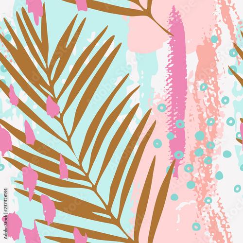 Photo sur Toile Empreintes Graphiques Modern vector illustration with tropical leaves, grunge texture, doodles, minimal elements.