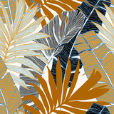 Hand drawn abstract tropical summer background : palm tree and banana leaves in silhouette, line art - 237326347