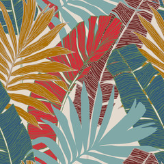 Fototapeta Liście Hand drawn abstract tropical summer background : palm tree and banana leaves in silhouette, line art