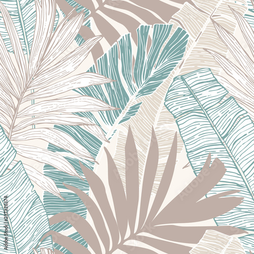 Poster Graphic Prints Hand drawn abstract tropical summer background : palm tree and banana leaves in silhouette, line art