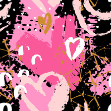 Art Seamless Pattern With Shabby Hearts, Rough Brush Strokes, Doodles On White Background.
