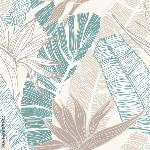 Papiers peints Empreintes Graphiques Hand drawn abstract tropical summer background : palm tree and banana leaves, bird-in-paradise flower in silhouette, line art