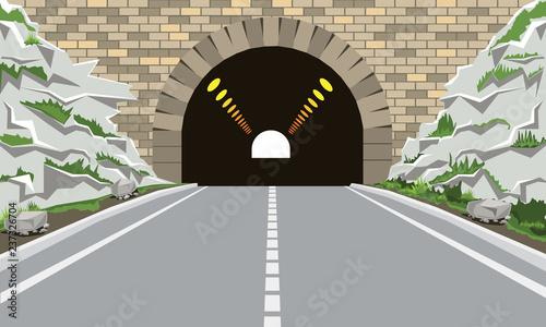 Tunel i autostrada w stylu mieszkania i kreskówki. Wysoka szczegółowych ilustracji wektorowych.