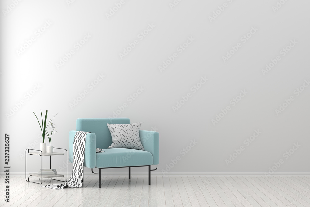 Fototapeta Modern living room with armchair. Scandinavian style interior design. 3D illustration.