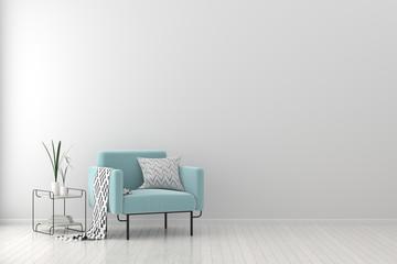 Modern living room with armchair. Scandinavian style interior design. 3D illustration.