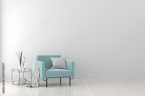 Obraz Modern living room with armchair. Scandinavian style interior design. 3D illustration. - fototapety do salonu