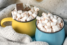 Mugs Of Hot Chocolate With Marshmallows On Top On A Blue Background. Cozy Winter Card