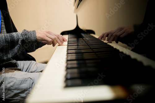 Fotografie, Obraz  Piano keys ,side view of instrument musical tool.
