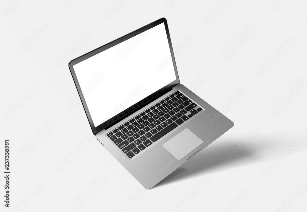 Fototapeta Mock up of a computer isolated on a background with shadow