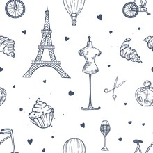Hand Drawn Seamless Pattern With Paris And France Symbols - French Perfume, Bicycle, Croissant, Eiffel Tower, Mannequin, Air Balloon On White Background. Vector Illustration For Wrapping Paper.