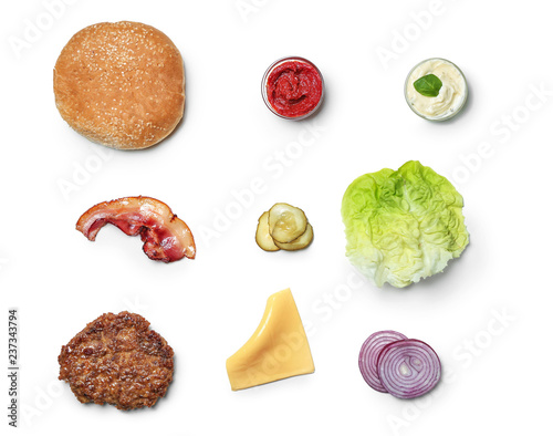 Fotomural Ingredients for burger on white background, flat lay