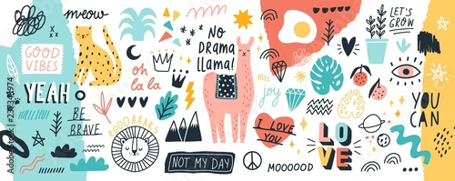Fotografia Collection of handwritten slogans or phrases and decorative design elements hand drawn in trendy doodle style - animals, plants, symbols
