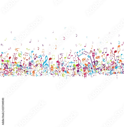 Canvas Print Colorful music notes background