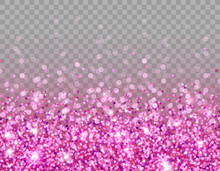 Pink Glitter Texture And White Glowing Lights Effect With Confetti. Vector Star Sparks Isolated On Purple Magic Transparent Background For Sparkles Greeting Card Design.