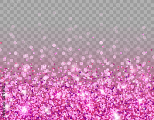 Pink glitter texture and white glowing lights effect with confetti Canvas Print